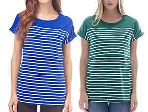 Smallshow Women's Nursing Tops Breastfeeding Patchwork Striped T Shirts 2-Pack Blue/Deep Green Small