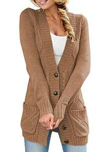 LOSRLY Womens Long Sleeve Cable Knit Open Front Cardigan with Pockets Casual Sweater Outwear M Khaki