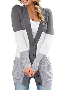 LOSRLY Womens Long Sleeve Color Block Button Down Open Front Cardigan with Pockets Casual Coat XXL Multicolor