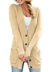 LOSRLY Womens Button Down Long Sleeve Solid Color Open Front Cardigan with Pockets Warm Winter Coat S Beige