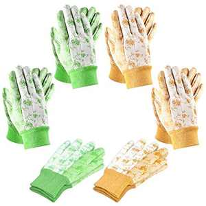 SEUROINT 6 Pairs Garden Gloves, Men and Women Gardening Gloves for Small Yard Tools Light-duty PVC Dots Cotton Gloves, Medium Size