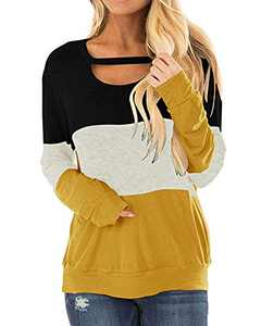 Ehpow Women's Color Block Tunics Chest Cutout Long Sleeve Shirts Scoop Neck Casual Loose Tops(Medium, 2-yellow-black)