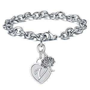 Turandoss Charm Bracelets for Women Tree Gifts, Engraved Letter V Initial Bracelet Stainless Steel Tree Charm Heart Letter Charm Bracelet Tree of Life Jewelry Bracelet for Women