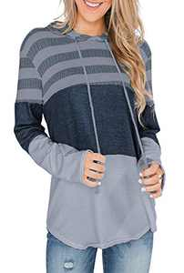 GULE GULE Women Long Sleeve Vintage Striped Tops Pullover Hoodie Knit Sweatshirts with Drawstring Grey XXL