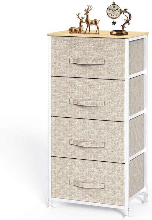 Pipishell Chest of Drawers, Fabric Storage Drawers with Wood Top and Large Storage Space, Easy to Install Room Organizer, Vertical Chest of 4 Drawers Bedroom, Living Room, Nursery Room, Hallway, etc