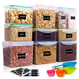 Vtopmart Airtight Food Storage Containers 10Pcs Set, Flour Containers, Great for Sugar and Baking Supplies, Plastic BPA Free Kitchen Pantry Bulk Food Storage Canisters, Include 24 Labels