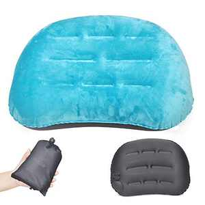 Ultralight Inflatable Camping Travel Pillow-Soft Compressible Portable Travel Air Pillow for Camp,Compact,Ergonomic Inflating Pillows for Neck & Lumbar Support While Camp, Hiking, Backpacking(Blue)