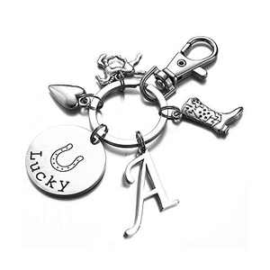 Horse Gifts for Girls Women, A Initial Keychain Horse Jewelry Horse Lover Gifts