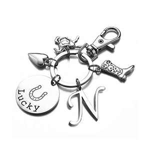 Horse Gifts for Girls Women, N Initial Keychain Horse Gifts Stocking Stuffers