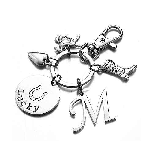 Horse Gifts M Initial Charm Key Chain Horse Horse Related Gifts Jewelry