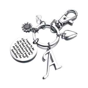 Sunflower Gifts for Women, A Initial Charm Keychain Sunflower Gifts for Women