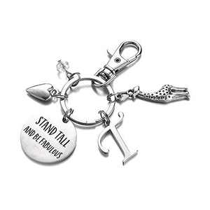 Giraffe Gifts for Women Girls, Engraved T Initial Giraffe Keychain Gifts