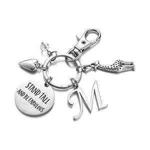 Giraffe Gifts for Women, M Initial Charm Giraffe Key Ring Giraffe Jewelry Gift