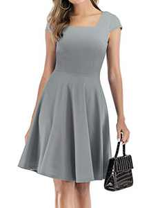 DRESSTELLS Women's Deep V Neck Summer Sundress Cap Sleeve Sexy Party Club Dresses Grey L