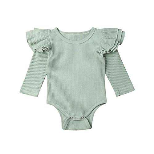 US Newborn Baby Girl Boy 2Pc Autumn Clothes Set Knitted Romper Ruffle Long Sleeve Jumpsuit Winter Outfits Green