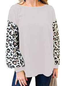 Women's Waffle Pullover Sweater Loose Casual Leopard Printed Tunic Shirts Plus Size White 2X