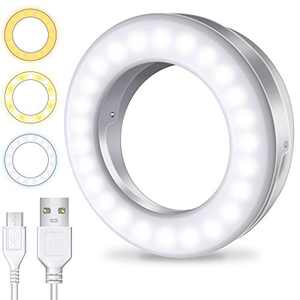 Meifigno Selfie Ring Light [3 Light Modes] [Rechargeable], Clip on Phone Camera LED Light, Adjustable Brightness Selfie Circle Light Designed for iPhone X Xr Xs 11 12 Pro Max Android iPad Laptop