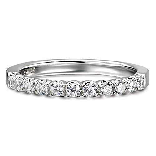 Riviera Pavé 3mm 11 Stone Cubic Zirconia CZ Wedding Band Rings Simulated Diamond Rhodium Plated Sterling Silver Wedding Rings |Ideal Cut, D-E Color, FL Clarity (6)