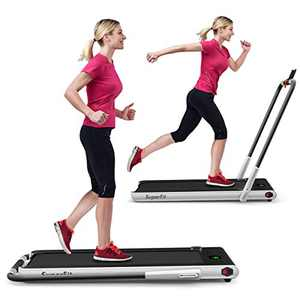 GYMAX Folding Treadmill, 2 in 1 Under Desk Electric Running Machine with Blue Tooth & LED Screen, Portable Walking Machine for Home, Office, Gym (Silver)