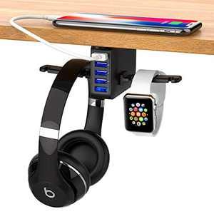 Headphone Stand Under Desk 5 USB Qc 3.0 Quick Charger Rack Headset Hook Holder Hanger Mount Station(8A/40W), Pc Gaming Headsets Switch Earphone Wire Organizer Adapter for Home Wireless Earbuds