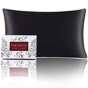 """Mellanni Silk Pillowcase for Hair and Skin - Both Sides 100% Pure Natural Mulberry Silk - 19 Momme - Hidden Zipper ClosurePillow Case- (King 20"""" X 36"""", Black, White Piping)"""