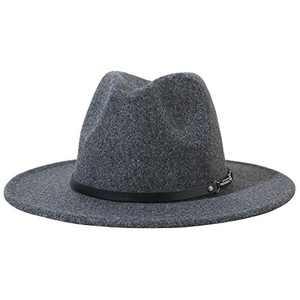 Lanzom Women Lady Classic Wool Fedora Hat with Belt Buckle Felt Wide Brim Panama Hat (Style C-Dark Grey, One Size)