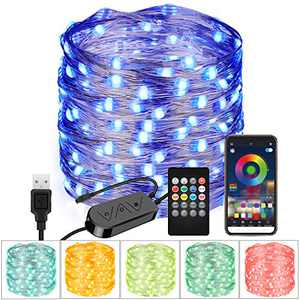 Moobibear 33FT USB RGB String Light Bluetooth App Controlled 100 LED Fairy Light, Multi Color Changing Light with 20-Key Remote Control for Home Bedroom Patio Party Wedding Valentines Day Decor