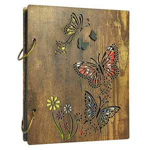 4x6 Photo Album Butterfly Photo Albums for 4 x 6 Pictures Fit 120 Photos, Dark Brown Wooden Cover