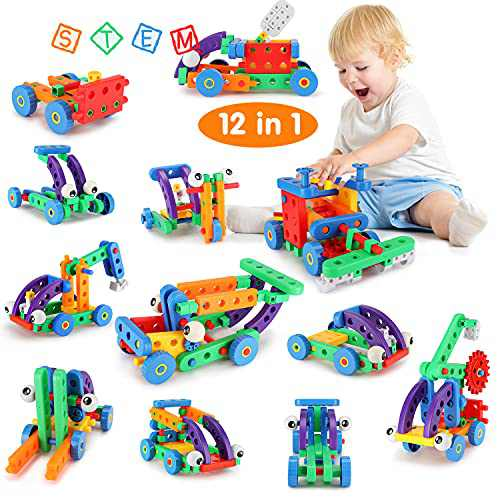 Fansteck 12 in 1 STEM Building Toys, Building Toys for Kids, Educational Big Size Building Blocks Learning Set for Ages 3 4 5 6 7 8 9 10 Year Old, Best Toys for Kids, Creative Games & Fun Activity