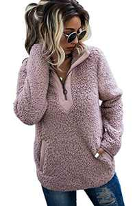 AQOTHES Womens Loose Casual Zipper Sherpa Fleece Pockets Pullover Sweatshirt Outwear Pink