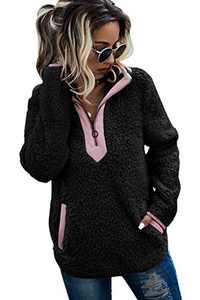 AQOTHES Womens Loose Casual Zipper Sherpa Fleece Pockets Pullover Sweatshirt Outwear Black