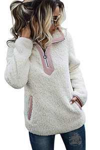 AQOTHES Womens Loose Casual Zipper Sherpa Fleece Pockets Pullover Sweatshirt Outwear White