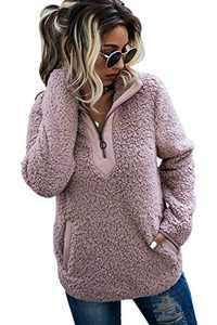 AQOTHES Womens Loose Casual Zipper Sherpa Fleece Pockets Pullover Sweatshirt Outwear Pink