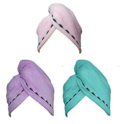 Hair Towel Wrap Turban 3 Pack Super Absorbent Microfiber Quick Dry Hair Turban Wrap, Dry Hair Hat, Wrapped Bath Cap with Lace Grooming 26inch/10inch