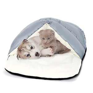 Yunnarl Pet House, Cave Bed for Small Medium Dog Cat, Ultra Soft Polar Fleece Dog Bed, Waterproof Surface Bottom -25x 20 Inches Washable Dog Bed, Cat Bed Gray
