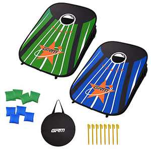 GRM Corn Holes Outdoor Game Set Indoor Portable Cornhole Boards Bean Bag Toss Game, Collapsible Cornhole Set with 8 Bean Bags for Kids Adults Family(3'x2')