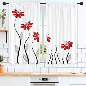 Riyidecor Red Flower Kitchen Curtains 55 x 39 Inch Floral Petals Rod Pocket Leaves Lines Geometrical Modern Woman Girl White Black Printed Living Room Bedroom Window Drapes Treatment Fabric 2 Panels