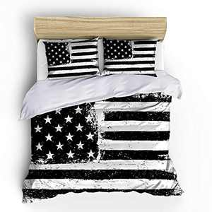 SHOMPE USA American Flag Bedding Sets Full Size,3 Piece Independence Fourth of July Flag Duvet Cover Sets for Teens Boys Girls Bedroom Decor,NO Comforter