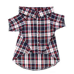 YUNNARL Dog Shirt Plaid Dog Polo Pet Clothes Outfit Apparel Dog T Shirt Soft Adorable Dog Clothes Cozy Halloween Christmas Costumes Sweater Matching Breathable for Medium Large Dogs Cats (6XL, Red)