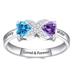 YokeDuck Promise Ring for Her, Personalized Birthstone Name Ring Custom Engraved Dainty Jewelry Gift for Her