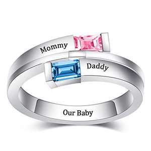 YokeDuck Personalized Promise Ring with Birthstone, Custom Engraved 2 Name Rings Wedding Engagement Gift for Women