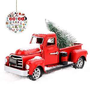 """Beewarm Vintage Red Truck Decor 6.7"""" Handcrafted Red Metal Truck Car Model for Christmas Decoration Table Decoration"""