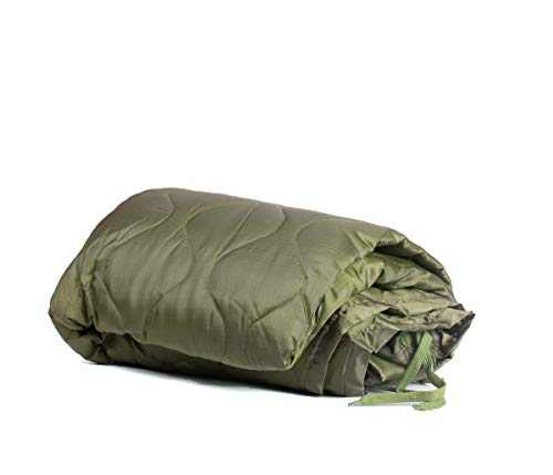 Farm Blue Tactical Camping Military Blanket - Woobie Poncho Liner - Lightweight Multifunctional All Weather Blanket Perfect for Camping Backpacking and Other Outdoor Activities - Olive Drab