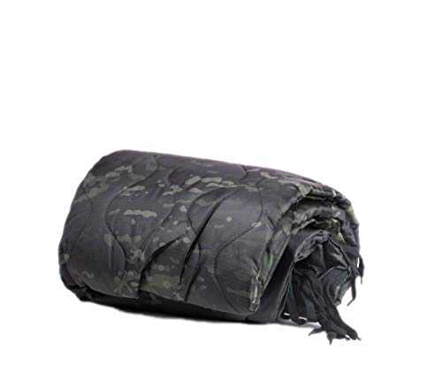 Farm Blue Tactical Camping Military Blanket - Woobie Poncho Liner - Lightweight Multifunctional All Weather Blanket Perfect for Camping Backpacking and Other Outdoor Activities - Black Camo