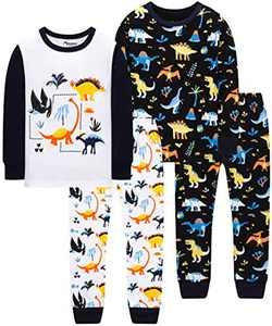 Boy Colors Dinosaur Pajamas Christmas Baby Clothes Children Kids 4 Pack 4-Pieces Pants Set 7t