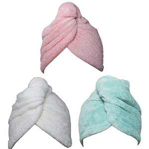 Hair Towel Wrap Turban 3 Pack Super Absorbent Microfiber Quick Dry Hair Towel with Button, Dry Hair Hat, Wrapped Bath Cap 26inch/10inch Green/Pink/White