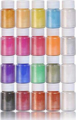 SEISSO 20 Colors Micas Soap Making Pigment Powder Jars 7 OZ Set Natural Coloring Cosmetic Grade Colorant for Epoxy Resin, DIY Crafting Projects, Nails, Bath Bombs, Slime (10g/0.35oz Each Bottle)