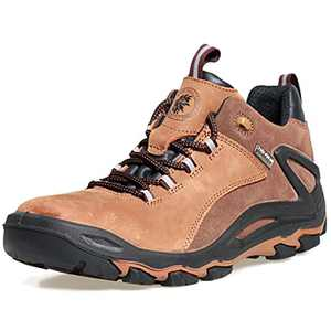 ROCKROOSTER Farland Hiking Shoes for Men,4 inch Waterproof Trekking Outdoor Shoes,Non Slip,Breathable,Lightweight and Anti-Fatigue (KS252 Brown, 8)