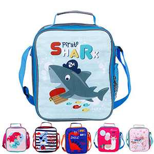 Kids Insulated Lunch Bag Cartoon Printed,Shark Pattern Cooler Lunch Box,Reusable Outdoor Travel Picnic Storage Tote Bags for Girls Boys Toddlers