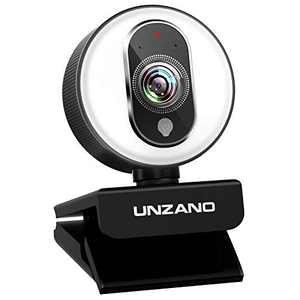 Webcam HD 1080p Web Camera, USB PC Computer Webcam with Microphone, Laptop Desktop Streaming Webcam with Ring Light Adjustable Brightness computer camera for Recording, Calling, Conferencing, Gaming